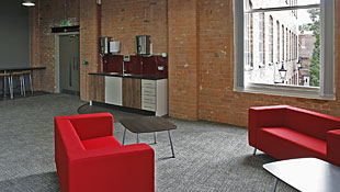 Photo of the communal kitchen area at the Atkins Building