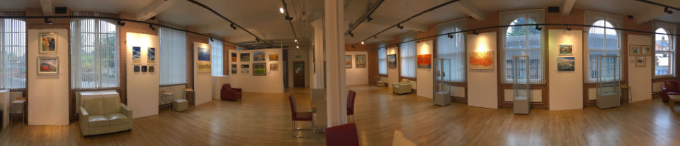 A panoramic photo of Atkins Building gallery space