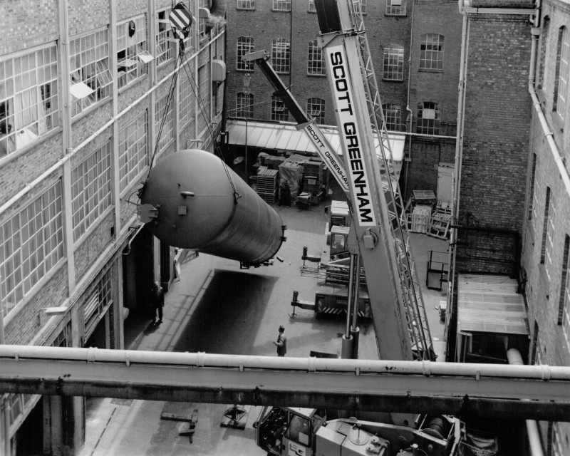 A photo of 'New manufacture process infrastructure being installed at Atkins factory ' by Hinckley & District Museum