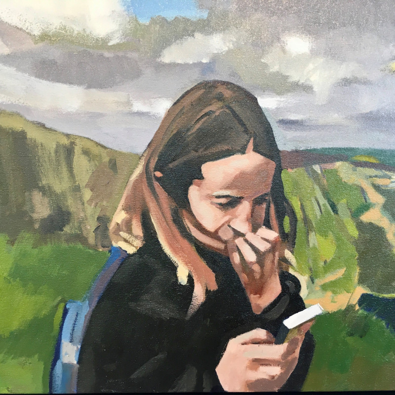 A photo of 'A LEXICON OF SHADOWS  Girl on a mobile phone (Snowdon)' by Geoff Bailey
