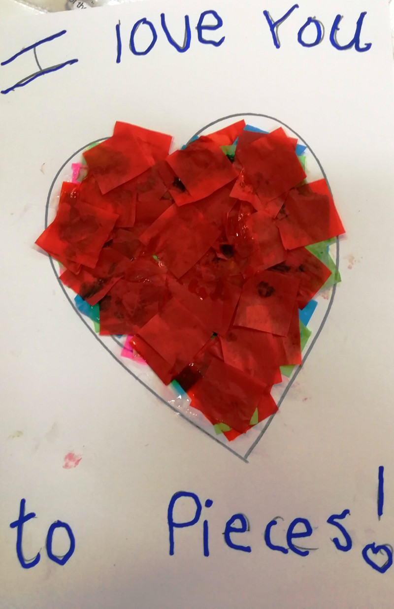 A photo of 'I Love You to Pieces' by a member of the Pathways Centre Art Group led by tutor Beatrice Bishop.