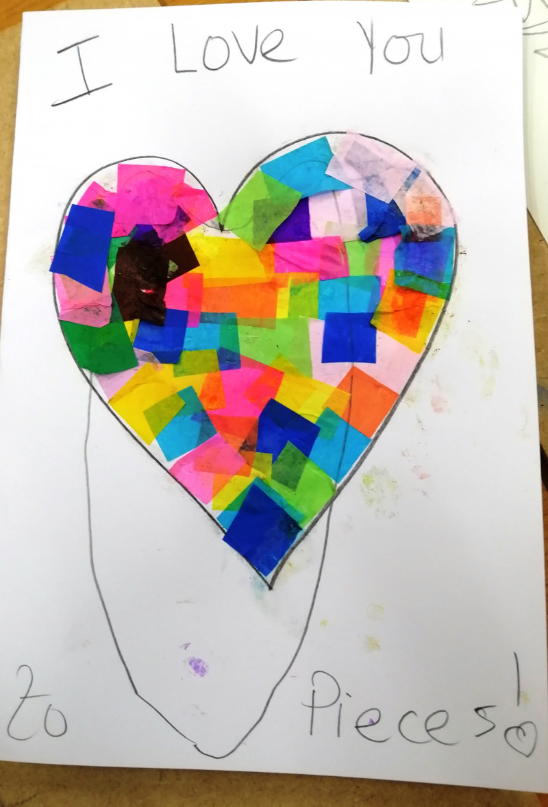A photo of 'I Love You to Pieces ' by a member of the Pathways Centre Art Group led by tutor Beatrice Bishop.