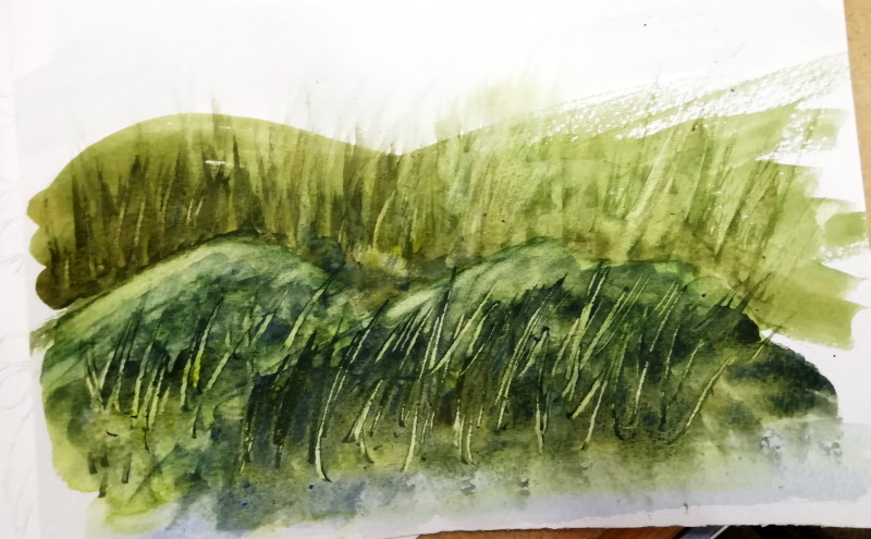 A photo of 'Landscape Study' by a member of the Pathways Centre Art Group led by tutor Beatrice Bishop.