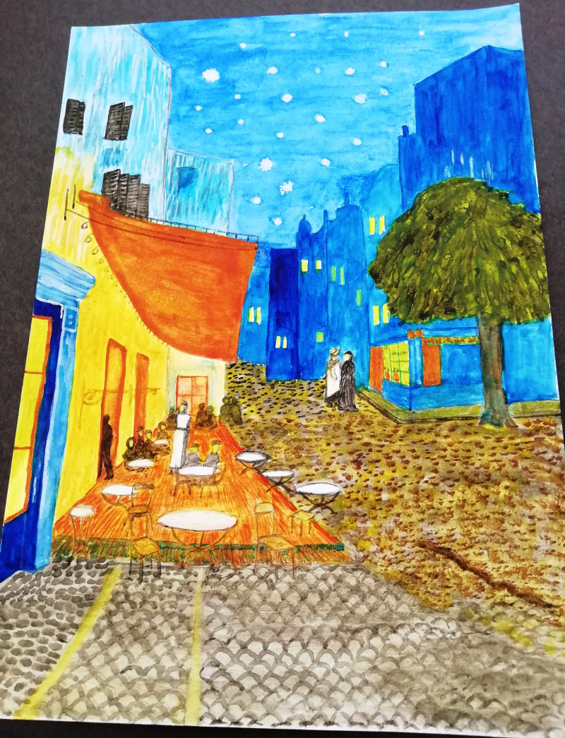 A photo of 'Van Gogh Study' by a member of the Pathways Centre Art Group led by tutor Beatrice Bishop.