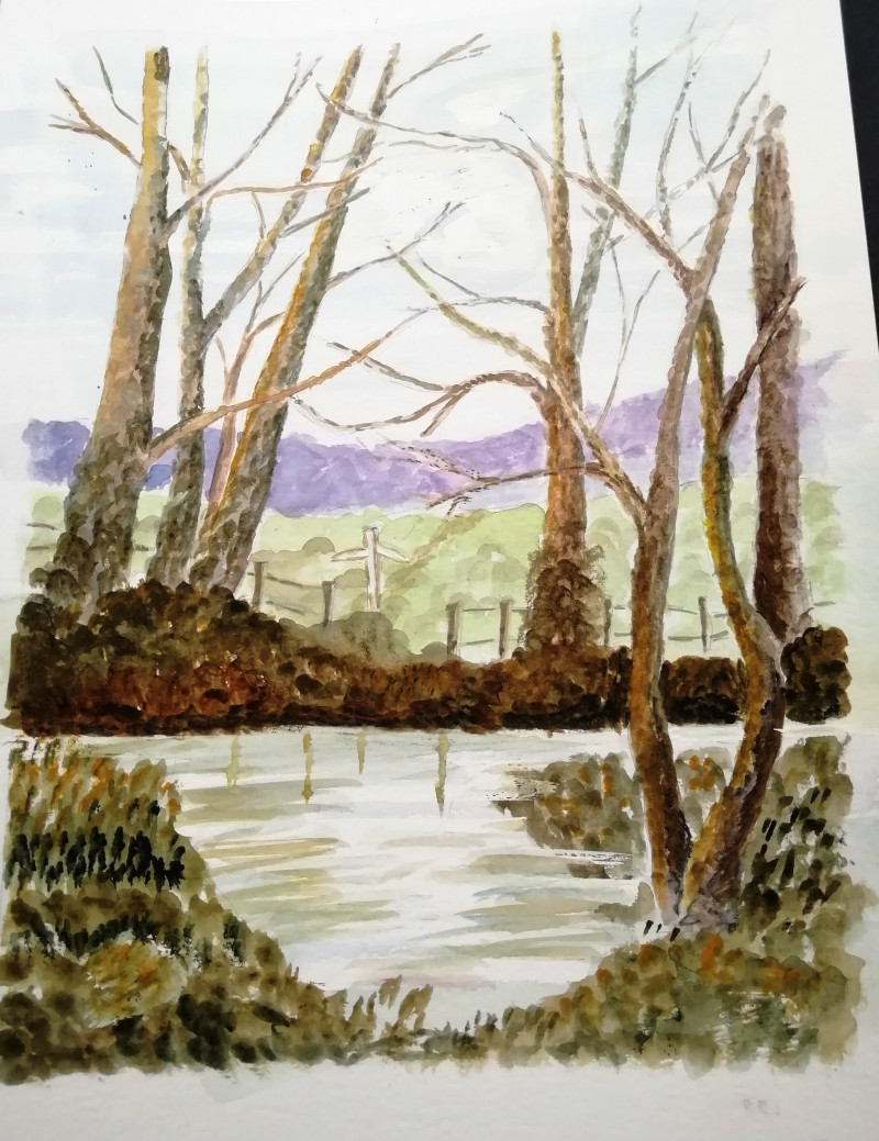 A photo of 'Landscape' by a member of the Pathways Centre Art Group led by tutor Beatrice Bishop.