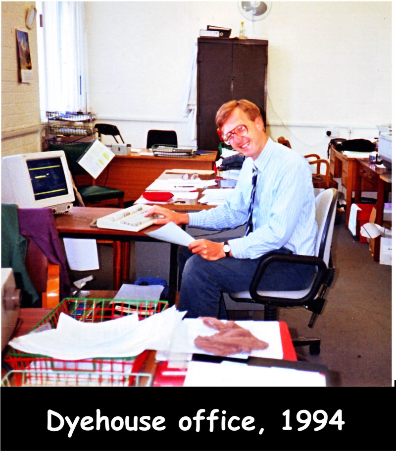 A photo of 'Dyehouse Office 1994' by James Atkins via the Fully Fashioned Memories Project