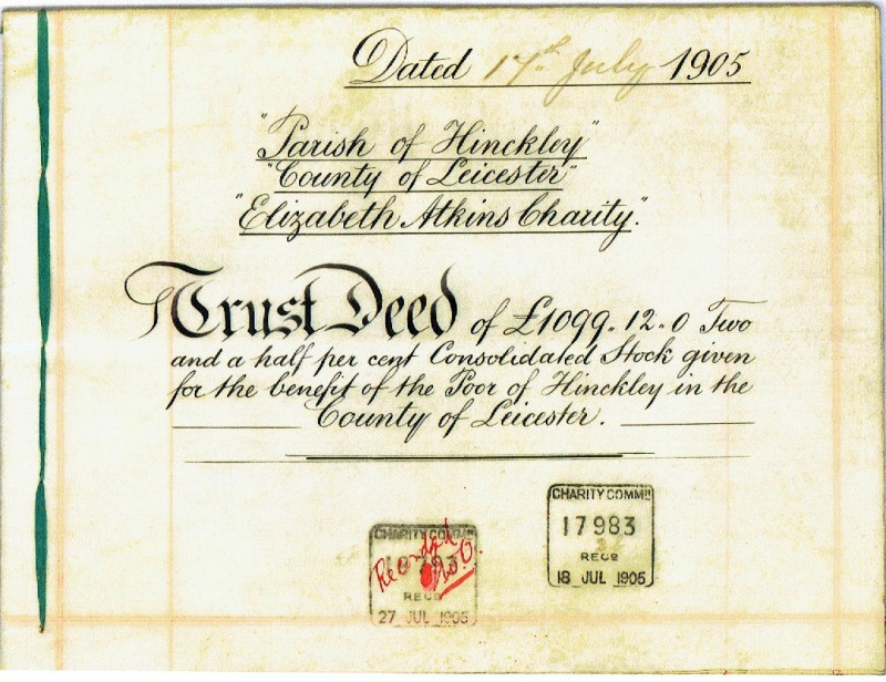A photo of 'Trust Deed document from the Elizabeth Atkins Charity ' by Chapel Archive