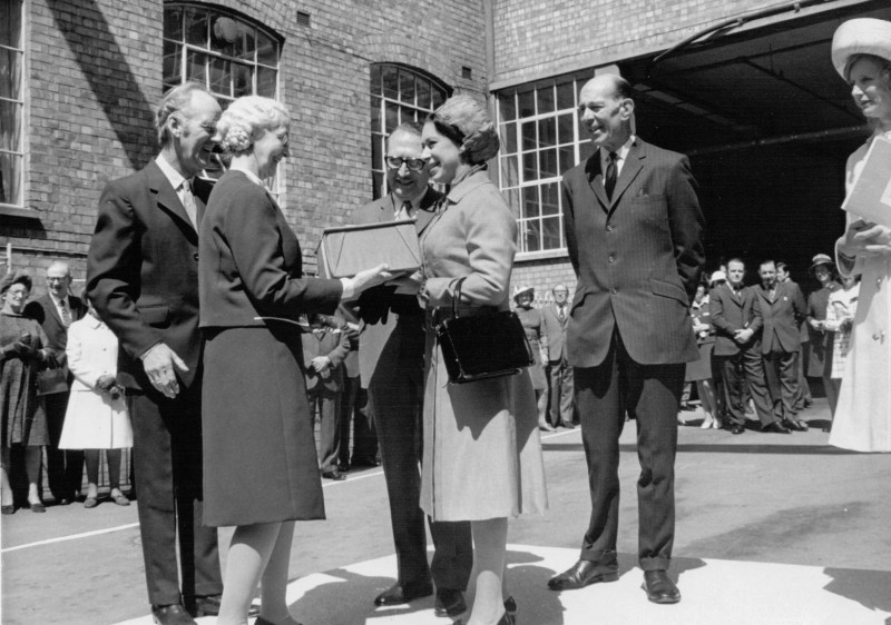 A photo of 'Royal Visit at Atkins factory 1972' by Hinckley & District Museum