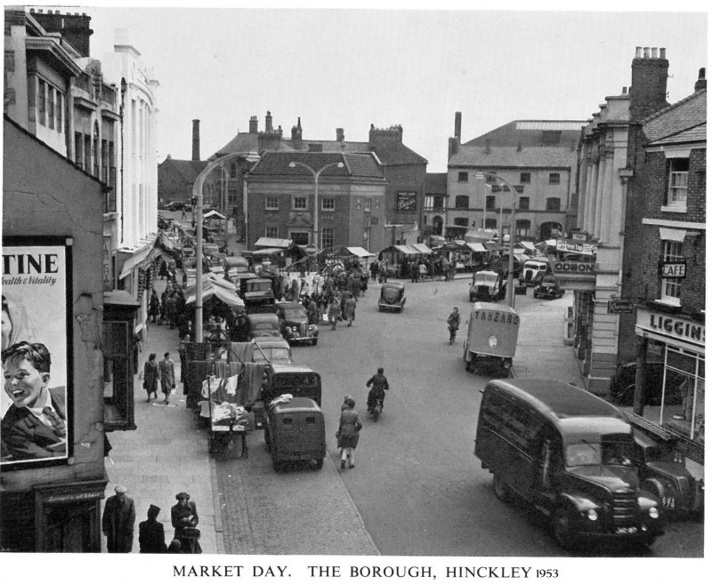 A photo of 'Market Day, The Borough, Hinckley 1953' by Local Publication. 1953 Queen Elizabeth II Coronation Souvenir  Booklet