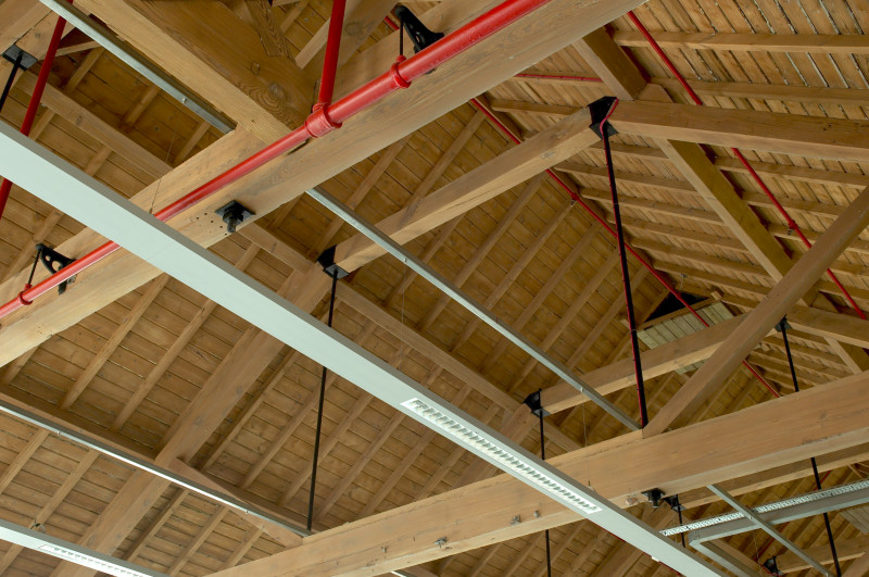 A photo of 'Atkins Building roof and internal rafters' by Hinckley and Bosworth Borough Council