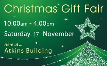 Follow Atkins Building on Social Media to learn more about the Christmas Gift Fair and the other upcoming exhibitions