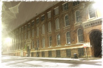 Atkins Building in the early morning snow photographed by Ross Kilgour